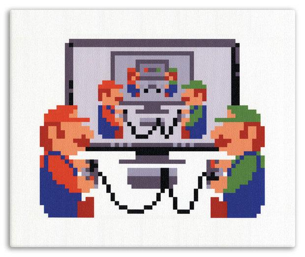 Classic 8-Bit Mario and Luigi Perler Bead Sprite || Super Mario ...